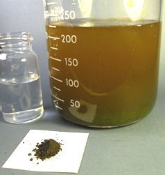 Organic matter degradation with a catalyst and hydrogen peroxide
