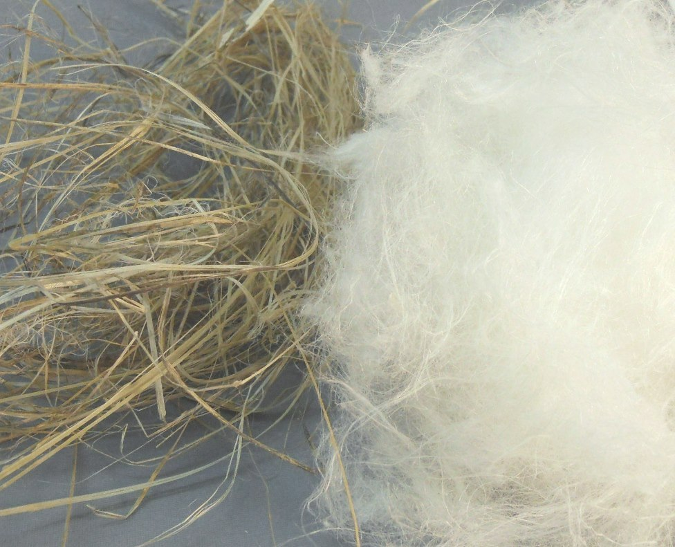 Hemp bast fiber before and after cottonization